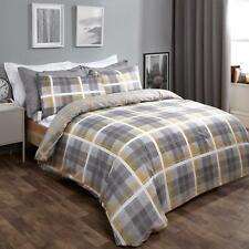 Dreamscene Denim Check Duvet Cover with Pillowcase Tartan Bedding Set Ochre Grey