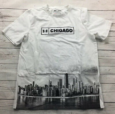 Under Armour Boys Loose HeatGear Chicago Cityscape T-Shirt Size Youth Large NEW