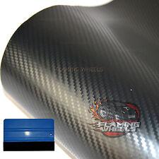1.5m x 2m Carbon fibre wrap vinyl 3D BLACK MATT HQ car matte bonnet + SQUEEGEE