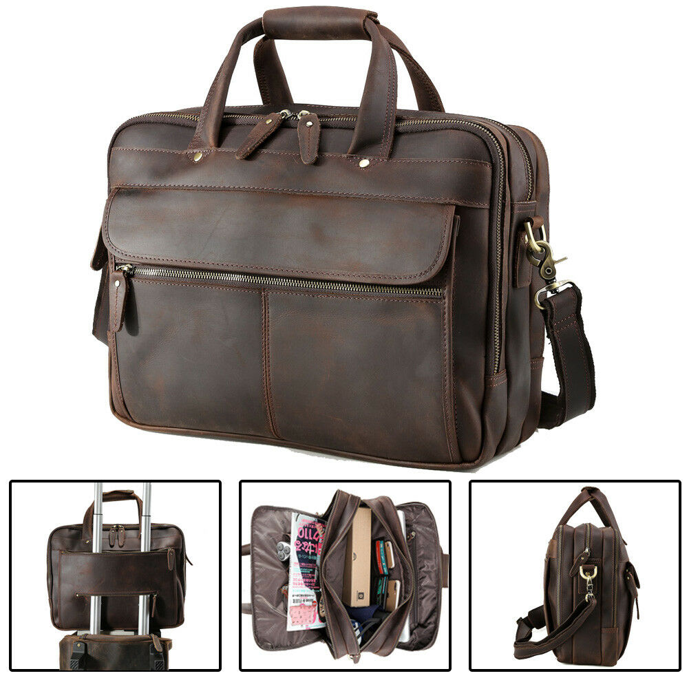Briefcase Genuine Leather Satchel for Men Women Laptop Bag 15.6-inch Large Capacity Vintage by Corno d/´Oro brown Miami