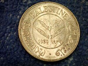 PräZise Palästina: 1939 Seltenes Silber 50 Mils Frosty Edelstein Brilliant Handgehoben