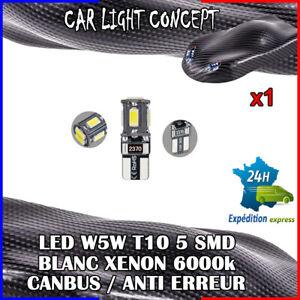 1-x-ampoule-veilleuse-Feu-LED-W5W-T10-BLANC-XENON-6000k-voiture-auto-moto-5-smd