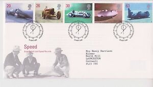 GB-ROYAL-MAIL-FDC-FIRST-DAY-COVER-1998-LAND-SPEED-RECORDS-STAMP-SET-BUREAU-PMK