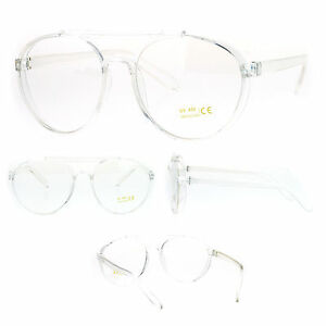 97dbf61c8ae Unique Nerdy Clear Frame Plastic Aviator Racer Style Clear Lens Eye ...