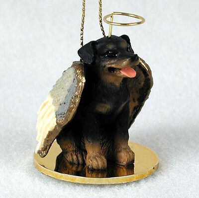 Rottweiler Ornament Angel Figurine Hand Painted