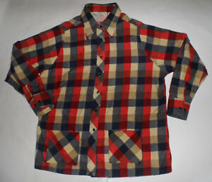VINTAGE-1960s-SEARS-PLAID-COTTON-ROCKABILLY-SHIRT-JACKET-2-HAND-POCKETS-44