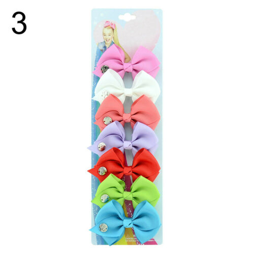 7Pcs Bowknot Hairpin Kids Baby Girls Hair Bow Clip Barrette Beamy US/_ ITS