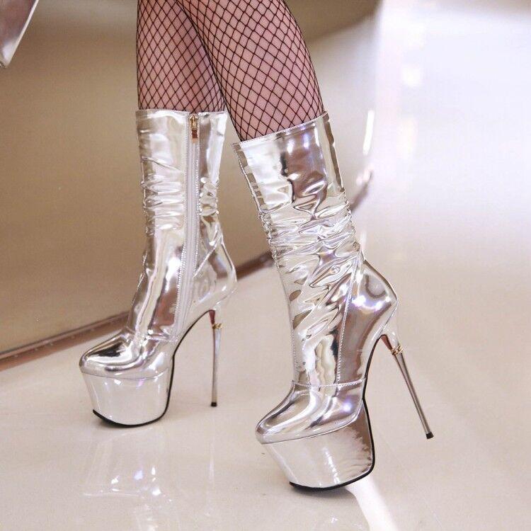 Zapatos De Fiesta Sexy Para mujeres Plataforma botas al Tobillo Tacones Super Alto Club nocturno Brillo