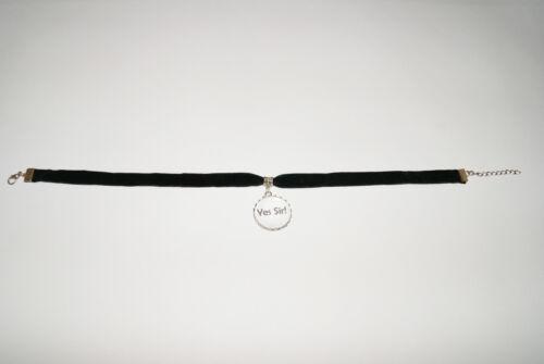Yes Sir Black Velvet Choker Necklace Jewellery Fetish Bondage Collar Master
