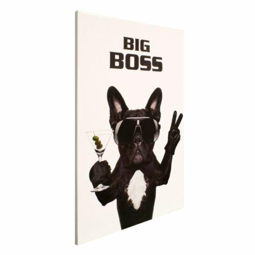 Bild Wandbild Leinwand Bild Keilrahmen Hund Bulldogge Big Boss 60x90cm