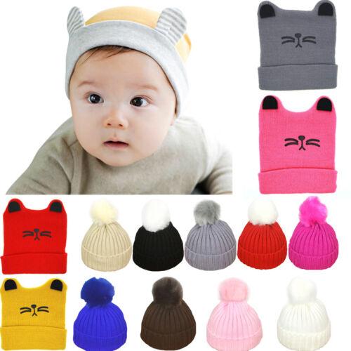 Fashion Cute Toddler Kids Baby Boys Girls Cat Ear Knit Keep Warm Lovely Soft Hat