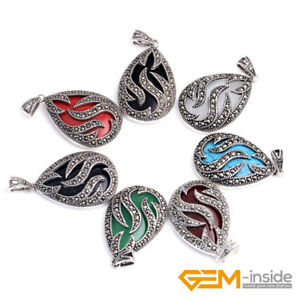 20x30mm-Oval-Gemstone-Beads-Tibetan-Silver-Marcasite-Jewelry-Charm-Pendant