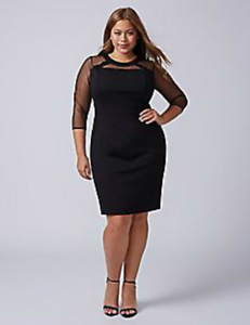 New LANE BRYANT Point D\'Esprit Sheath Dress in Black Ponte Knit Plus ...