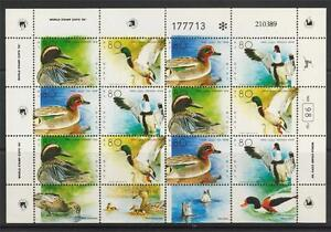 ISRAEL-STAMPS-1989-DUCK-IN-THE-HOLY-LAND-FULL-SHEET-MNH-VF-FAUNA