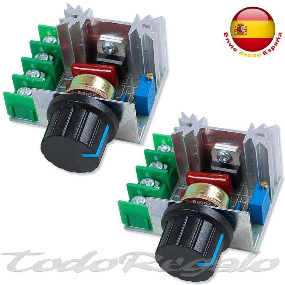 2x Regulador de Voltaje 2000W 50V-220V 10A PWM Motor Speed Controller Regulator