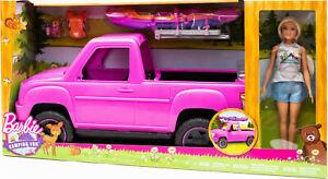 Mattel-FNY40-Barbie-Camping-Fun-Spielset-mit-Auto-Truck-Kajak-und-Puppe-NEU