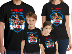 Image Is Loading Paw Patrol Shirt Personalized Kids Birthday