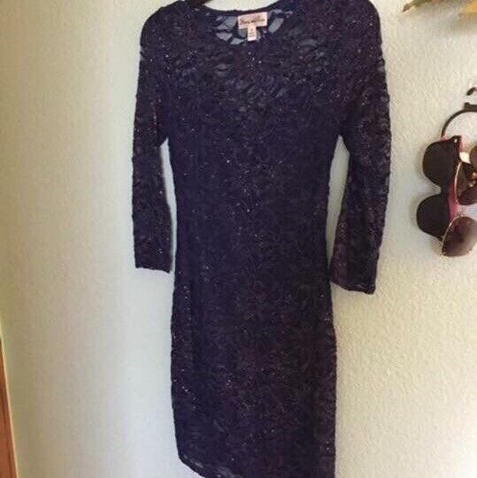 bluee Sparkly Lace Homecoming Dress Size Small Long Sleeve
