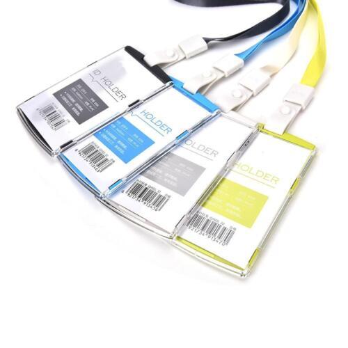 Vertical Transverse Clear Plastic ID Name Card Holder Work Badge w// Lanyard HU