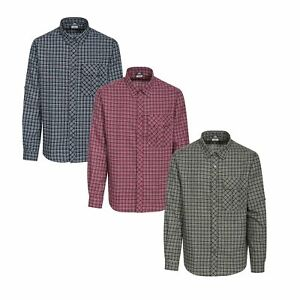 Trespass-Snyper-Mens-Checked-Shirt-Casual-Cotton-Long-Sleeve-Button-Front-Top