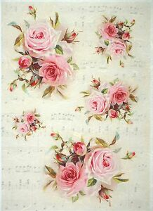 Rosas Antiguo Papel De Arroz Para Decoupage Scrapbook Hoja