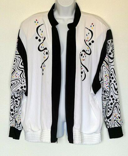 Vintage 80's Black White Bomber Windbreaker Jacket