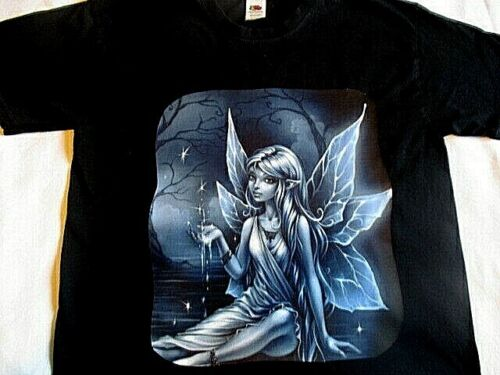 Women/'s Blue Gothic fairy  T-shirt night scene with stars pool overarching trees
