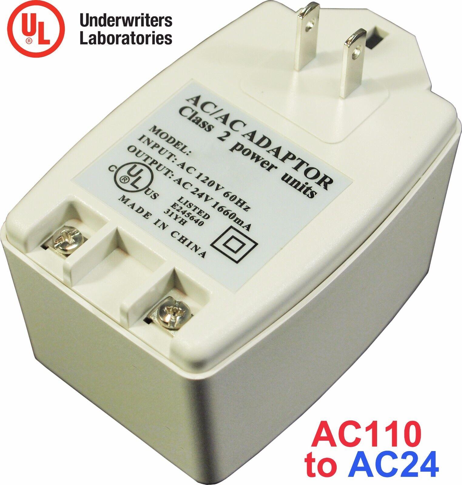 AC 24V 1660mA 40VA Transformer Adapter AC110V to AC24V Convert with UL Certified