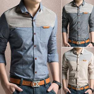 Moda-Nuevo-3-Colores-Hombre-Lujo-Manga-Larga-Casual-Slim-Fit-Elegantes-Camisas-De-Vestir