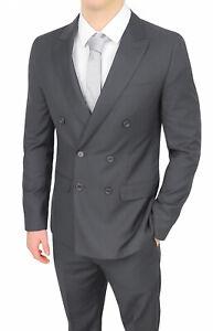 Dettagli su Abito uomo sartoriale doppiopetto grigio elegante formale smoking cerimonia