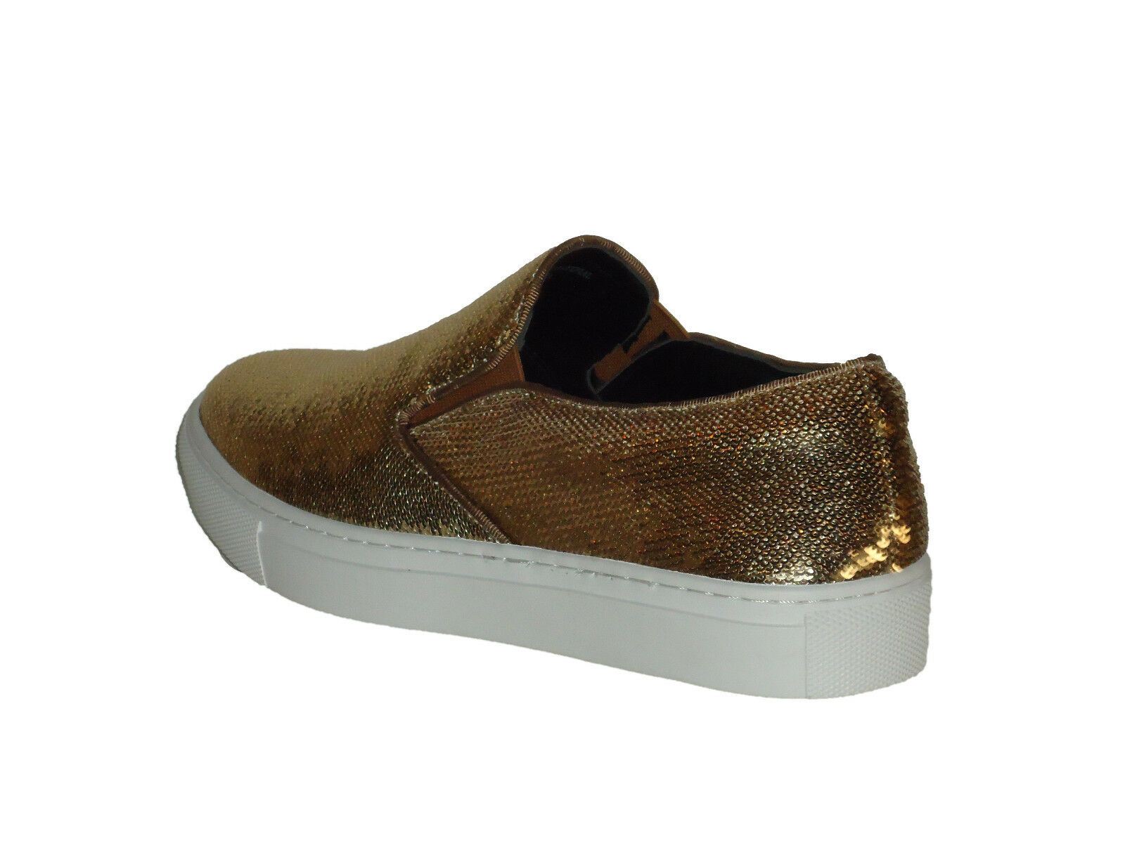 AM 6758 Uomo Fancy Dressy Slip On Rubber Sole Sole Sole  Sparkling Gold Sequins 4313e1