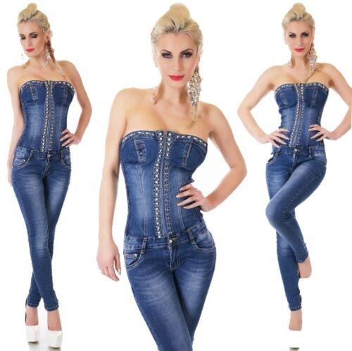 Porteur sans bandeau Jeans Overall Denim jumpsuite Strass 34 36 38 40 42 Bleu