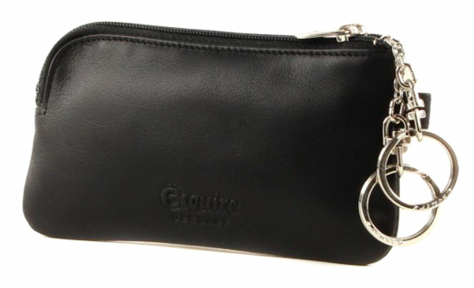 Esquire Logo Schlüsseletui Schlüsselmäppchen Keyholder Schwarz Black Zipper Neu