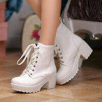 Ladies punk Strappy ankle Retro boots platform Cuban High Heel Lace Up US4-11