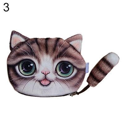 Children Cute Cat Face Tail Coin Purse Kids Wallet Bag Change Pouch Key Holder