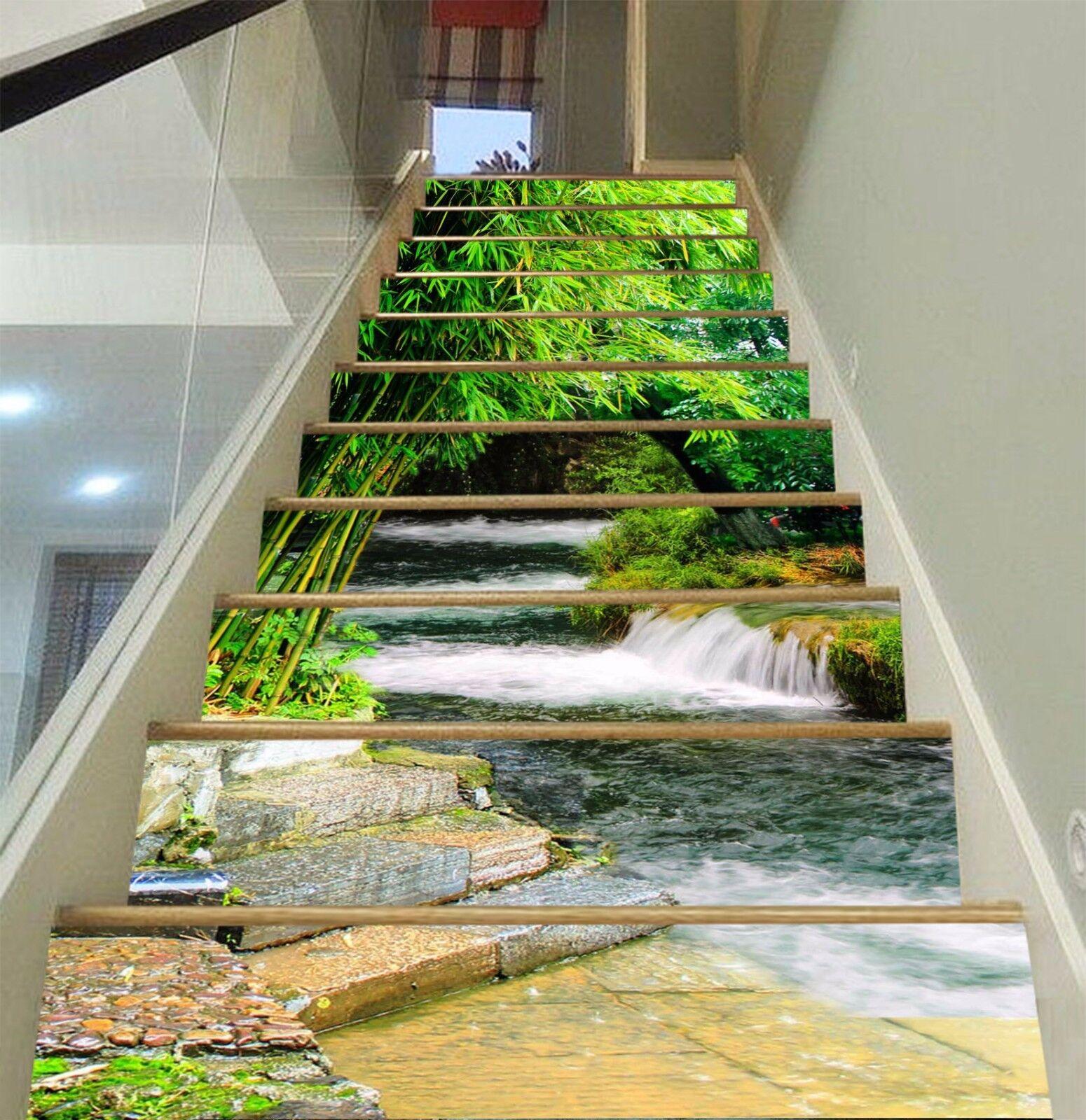 3D Green Bamboo 724 Stair Risers Decoration Photo Mural Vinyl Decal Wallpaper AU