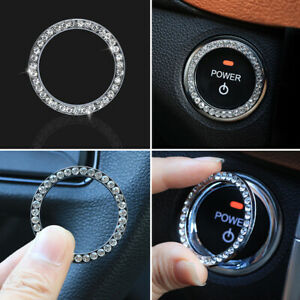 Voiture-SUV-Decoration-Argent-Accessoires-Bouton-Demarrage-Switch-Cristal-Strass
