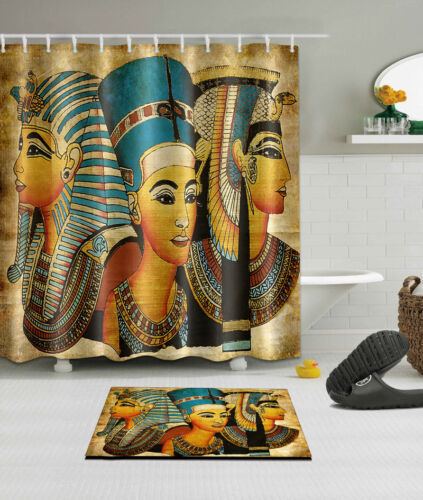 Shower Curtain Bathroom Waterproof Fabric Home Egyptian Pharaoh Mat Set YL4217