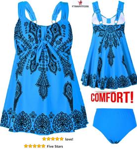 52156036757ab Women's Plus-Size Swimsuit Retro Print Two Piece Pin up Tankini ...