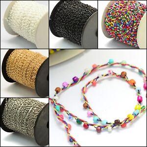 2M-Rocailles-Perlenschnur-2mm-Glasperlen-11-0-Perlenband-Perlenkette-Farbauswahl