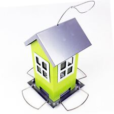 New Garden Patio Metal Birds House Shape Free Standing Hanging Wild Bird Feeder
