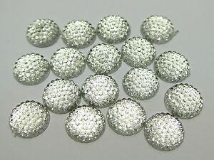 100-Clear-Flatback-Resin-Dotted-Round-Rhinestone-Cabochon-Gems-12mm