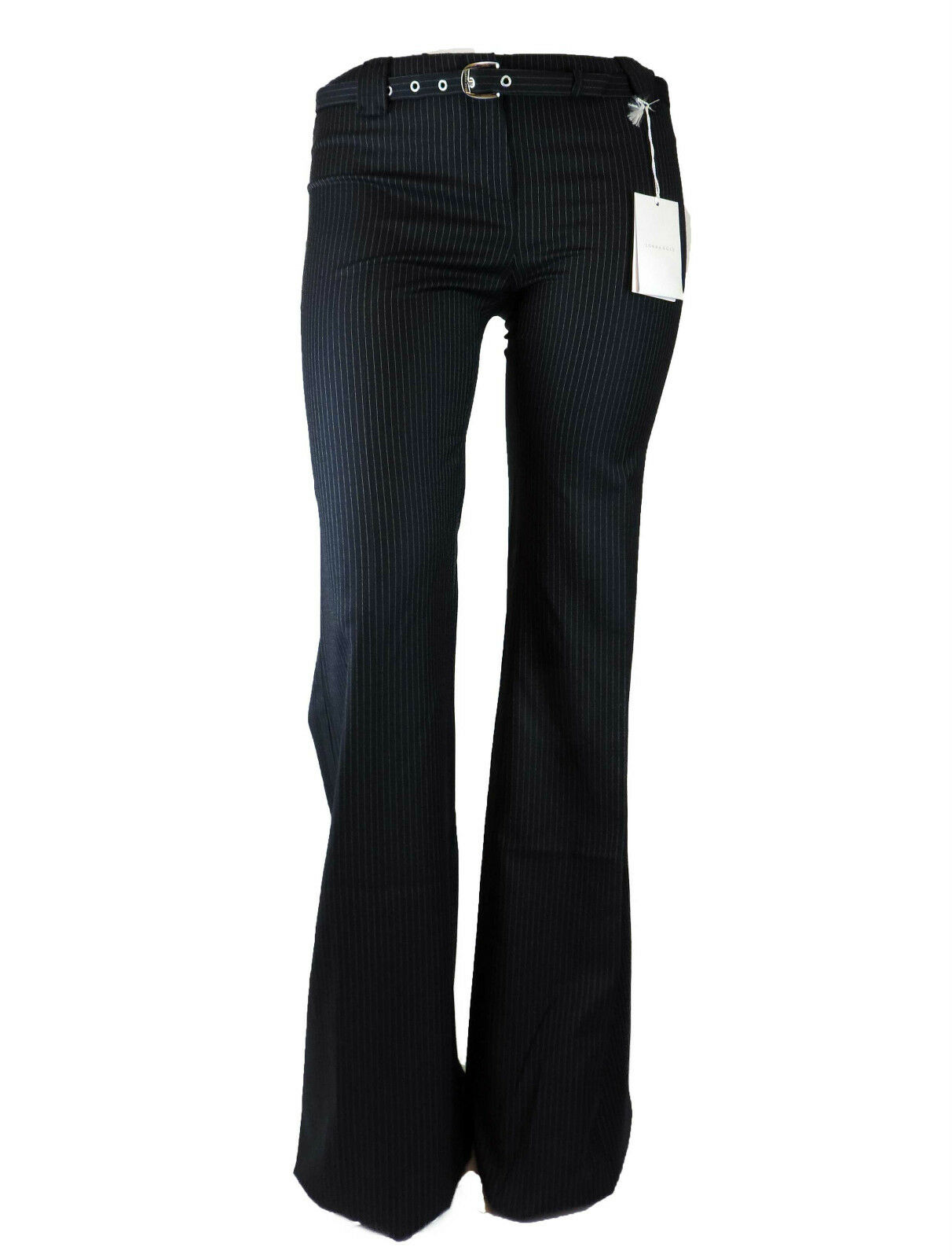 Lorna bosè TROUSERS NAVY NEEDLE STRIPE Bose Geschäft TROUSERS Wolle NEW WITH TAGS