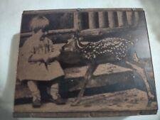 Letterpress Printing Block Cut Stamp Girl Feeding Baby Deer Fawn Wood Metal Vtg