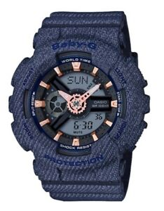 Casio-Baby-G-BA110DE-2A1-Denim-Pattern-Blue-Anadigi-COD-PayPal