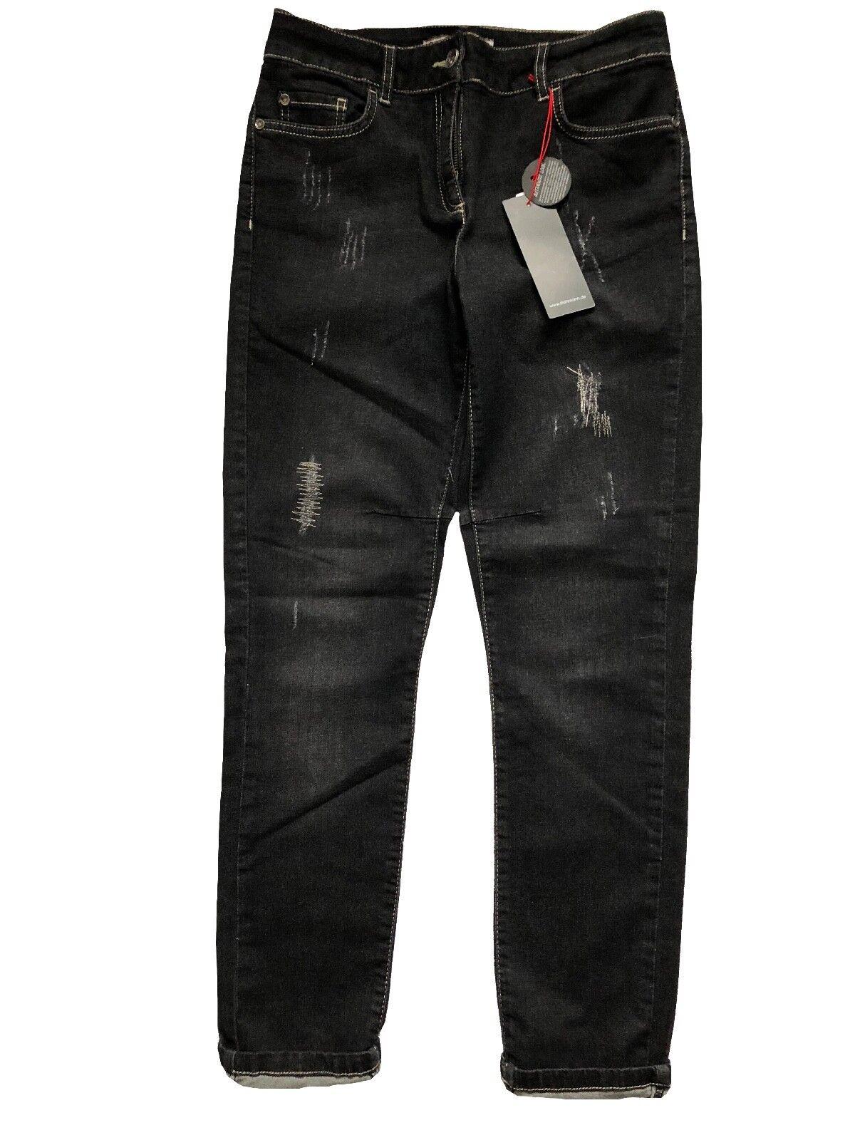 """Stehmann Vintage 5-Pocket Jeans Denim Jeans """"Anna  schwarz used destroyed 42 Neu"""