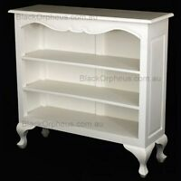 White Bookcase Low, Solid Timber, Queen Anne Bookcase