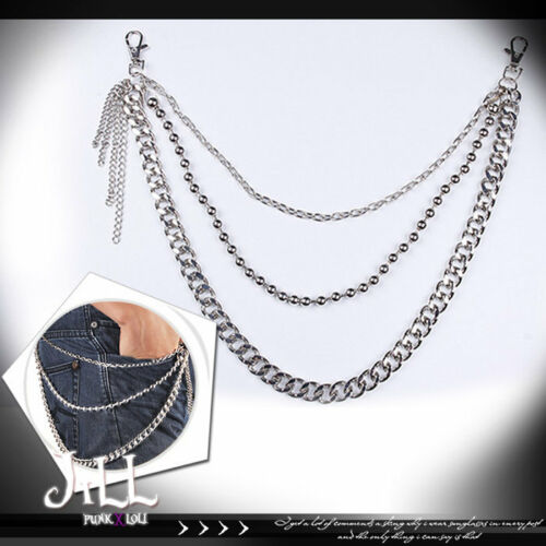 punk visual heavy rock rosary beads layered silver alloy trousers chain J1S6017