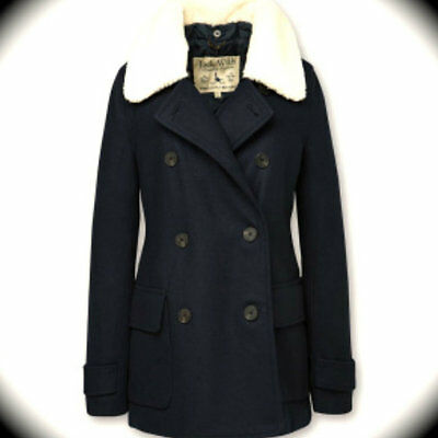 BNWT New Womens Jack Wills Lynford Coat Sherpa Wool Size 12 Navy RRP £159