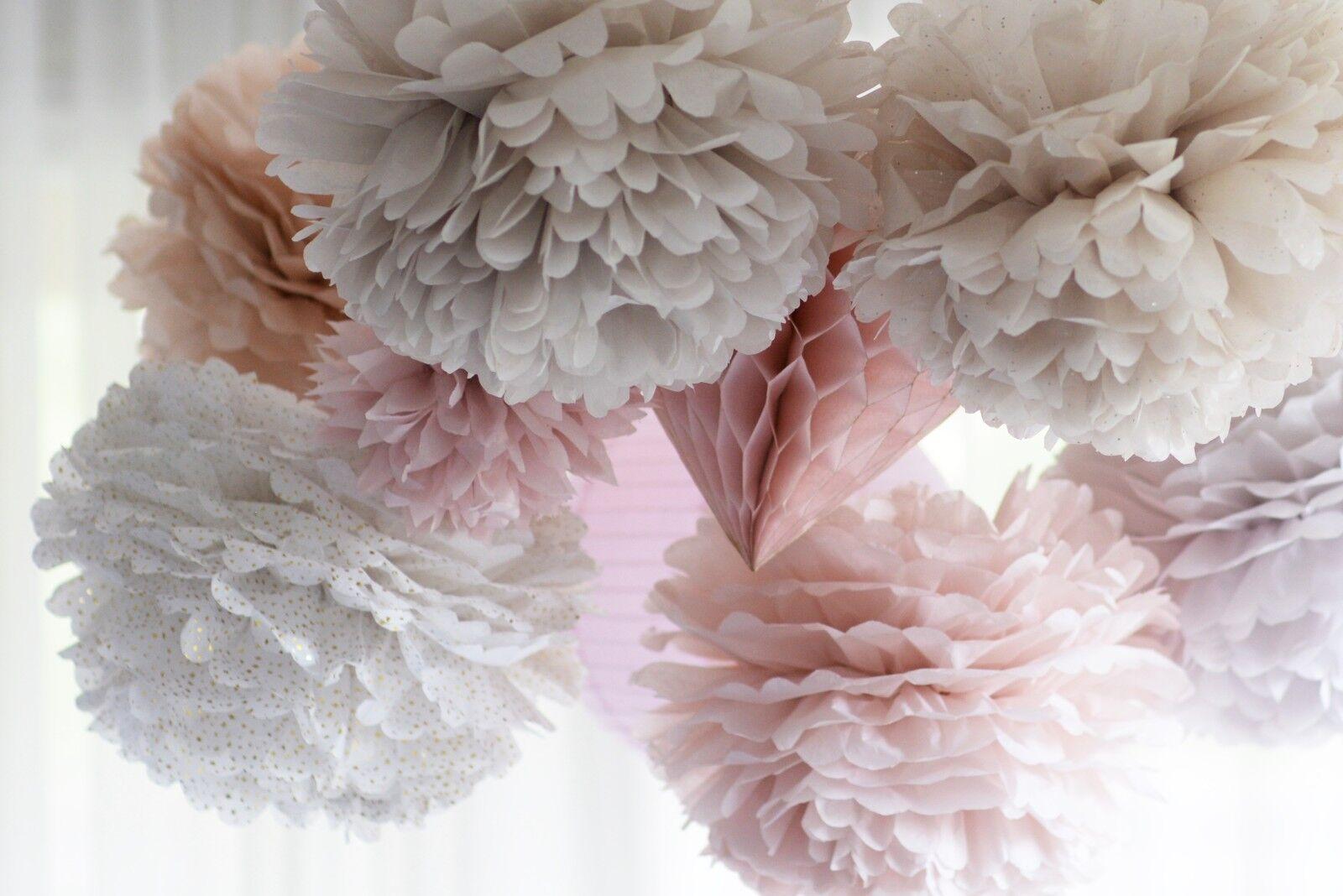 Dusty rose poudré 32 papier tissu pompons ensemble mariage fête nursery décoration set
